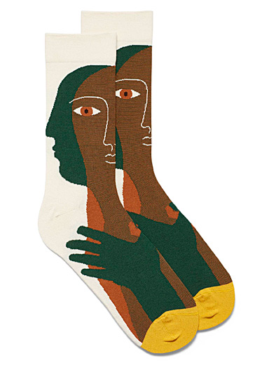 Cubist portrait socks