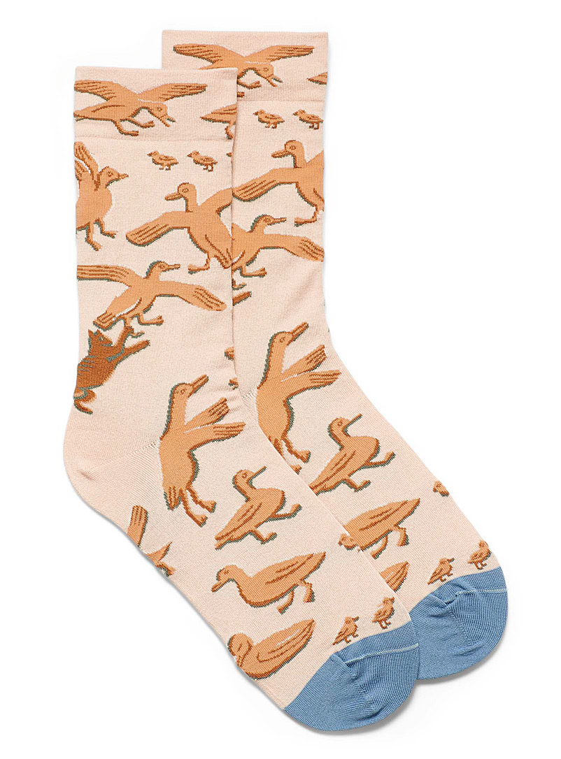 Bonne Maison Light Red Cat and duck socks for women