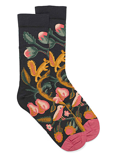 Bird and squirrel ankle socks