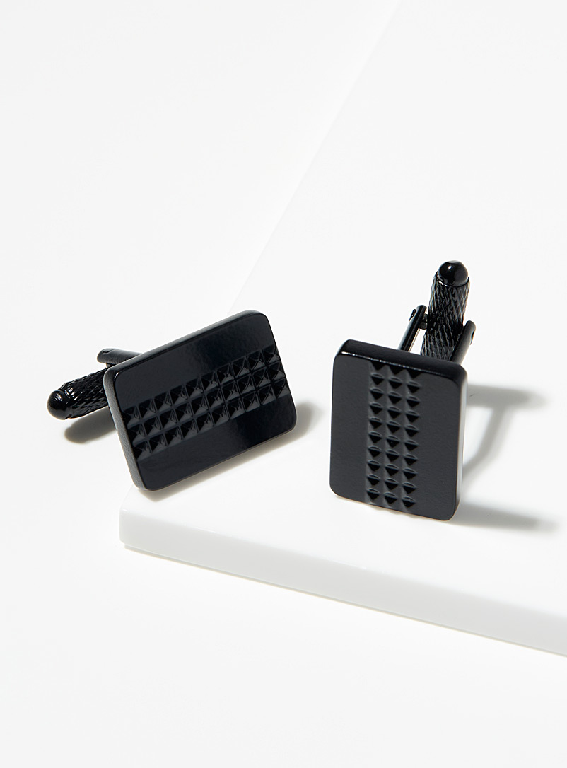 Le 31 Black Monochrome embossed cufflinks for men