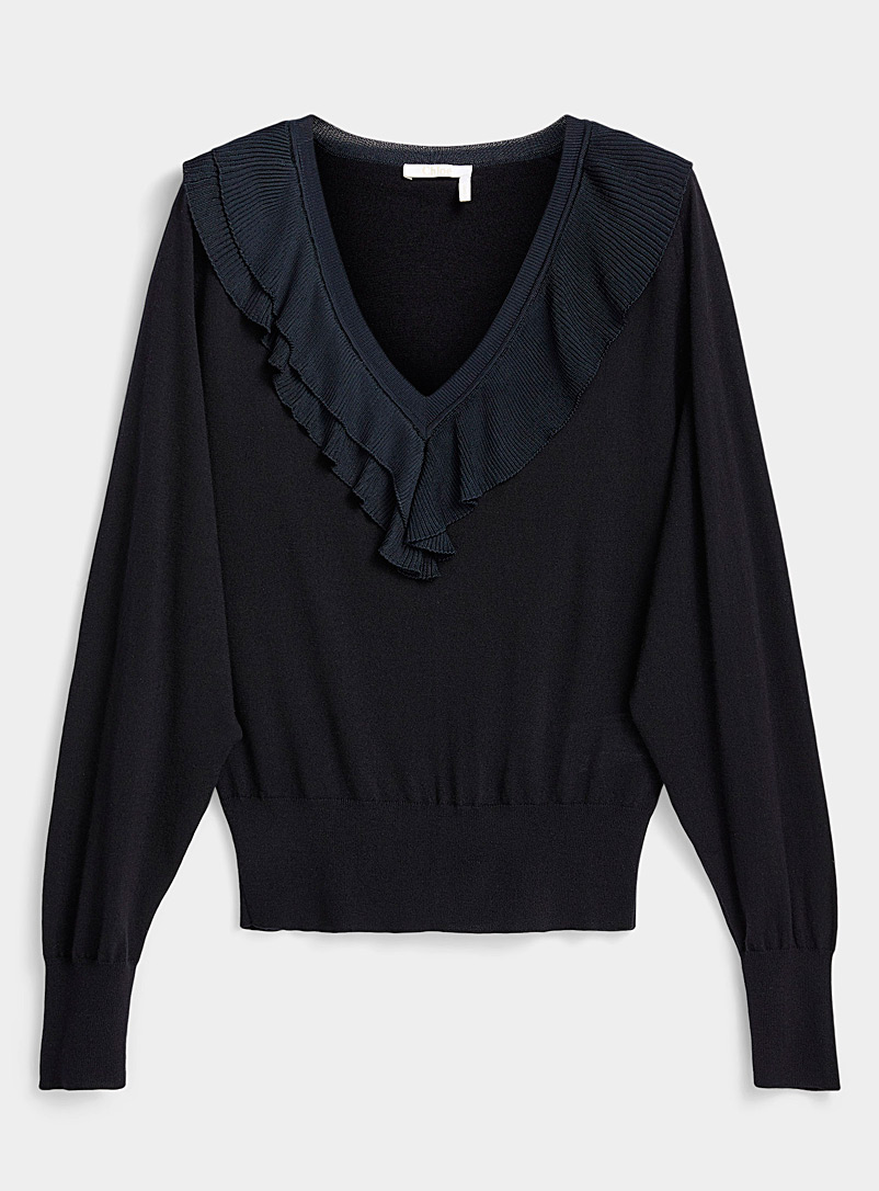 Chloé Black Ruffled neck sweater for women