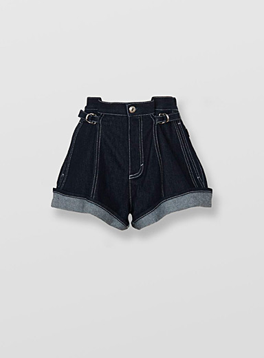 Indigo denim strap short
