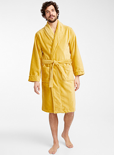 Le 31 Dark Yellow Moiré velvet robe for men