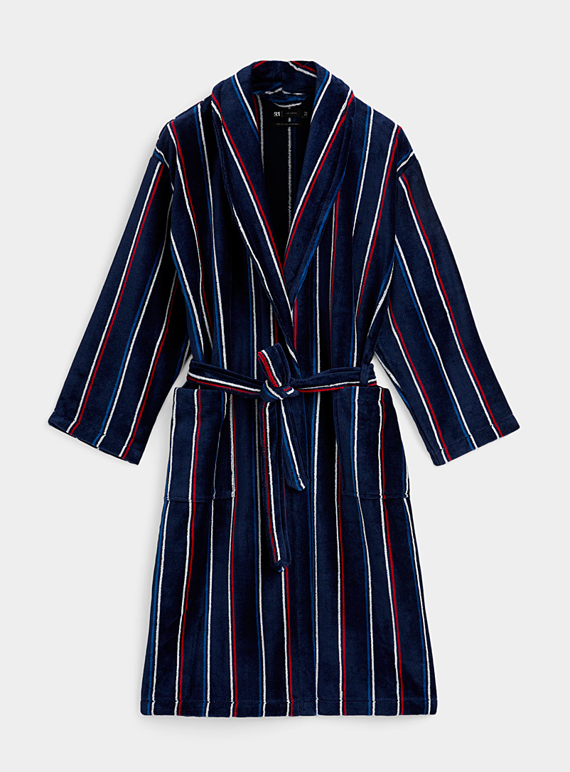 Tricolour striped velvet robe