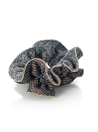 Tweed and houndstooth scrunchie