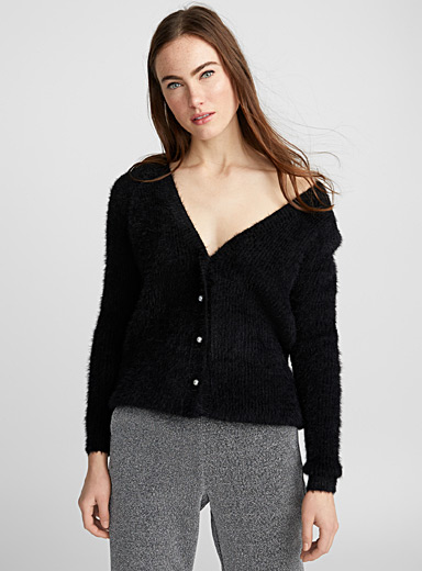 Pearly button chenille cardigan