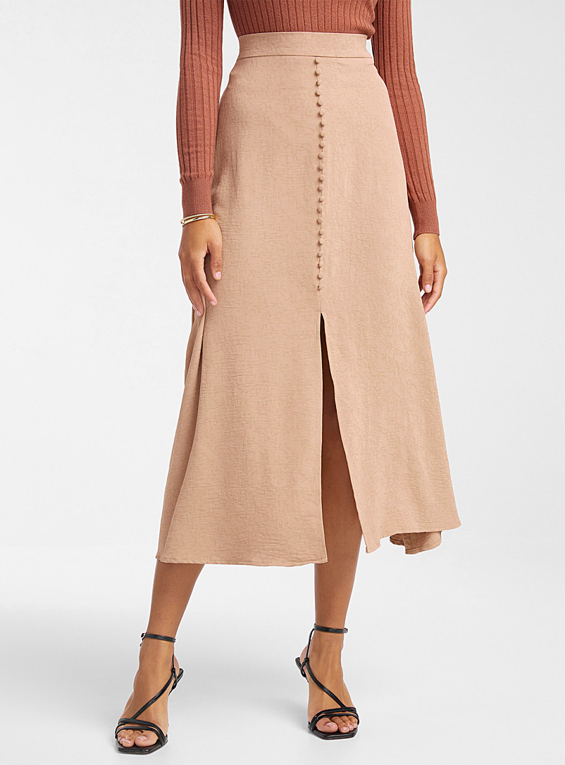 Icône Fawn Covered-button slit skirt for women