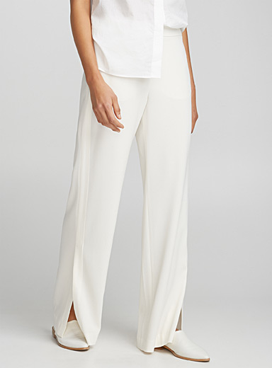 Satin trim wide-leg pant