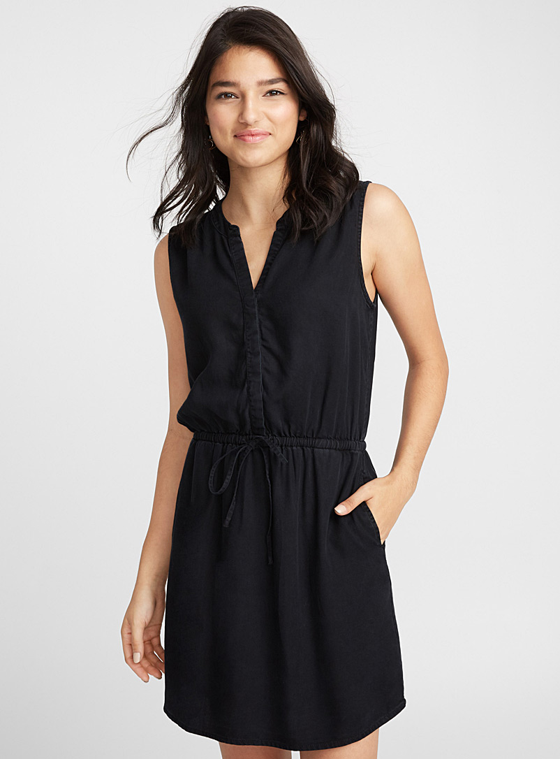 Pure lyocell dress - Fit & Flare - Black