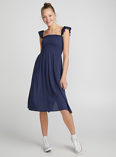 Accent-ruffle honeycomb dress