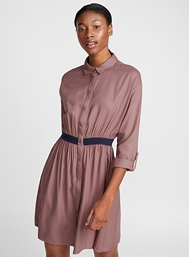 Ribbed accent band dress