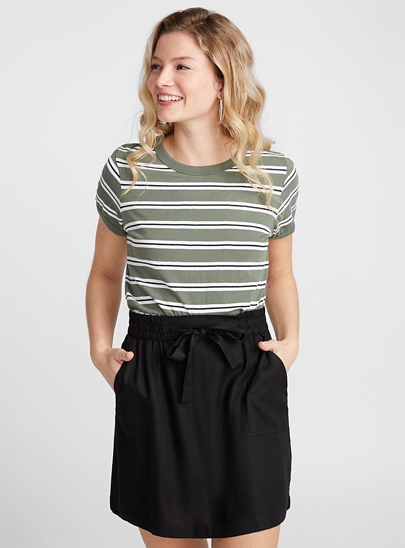 buckled-waist-viscose-skirt