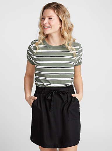 Buckled waist viscose skirt