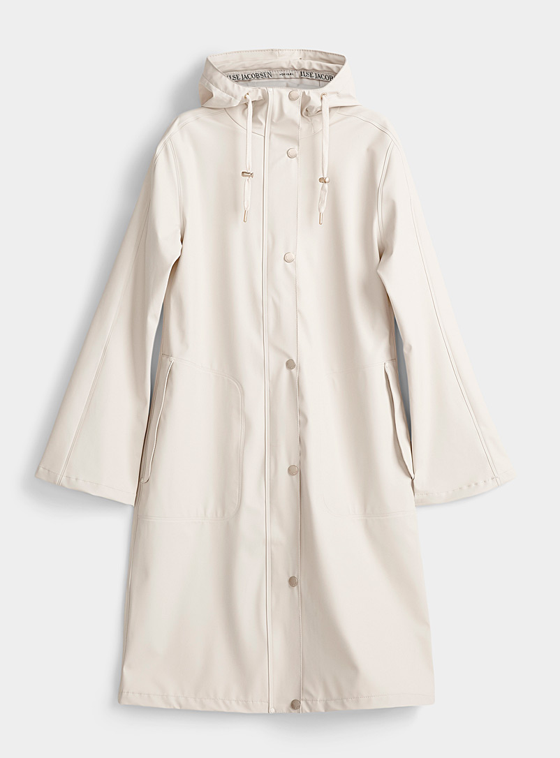 Ilse Jacobsen Cream Beige Long golden brushed button raincoat for women