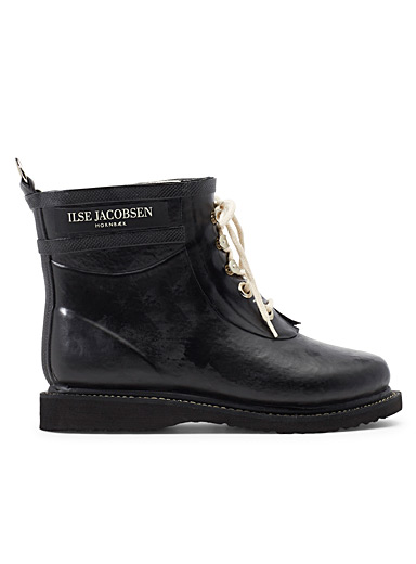 Ilse Jacobsen Black Black lace-up rain boots for women