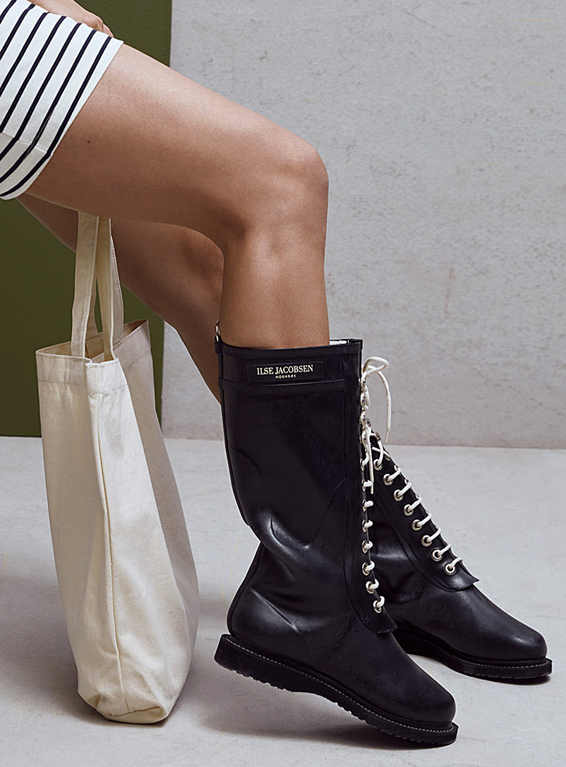 Ilse Jacobsen Black Long lace-up rain boots for women