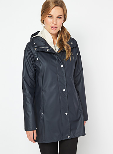 Ilse Jacobsen Marine Blue 3/4 rubber raincoat for women