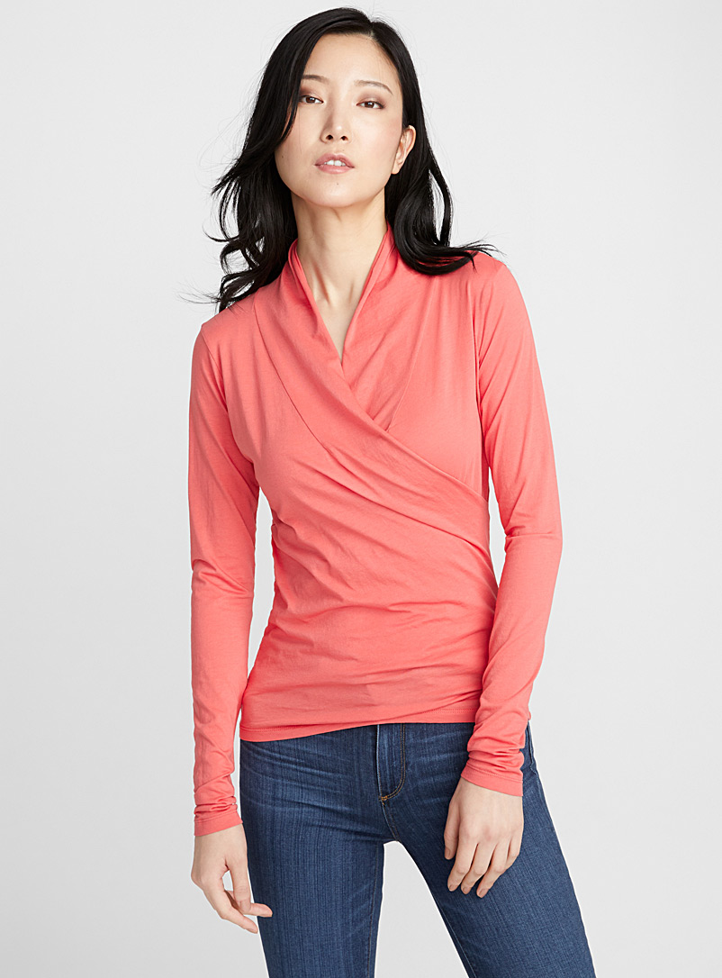 Gauzy wrap tee - Long Sleeves - Tangerine