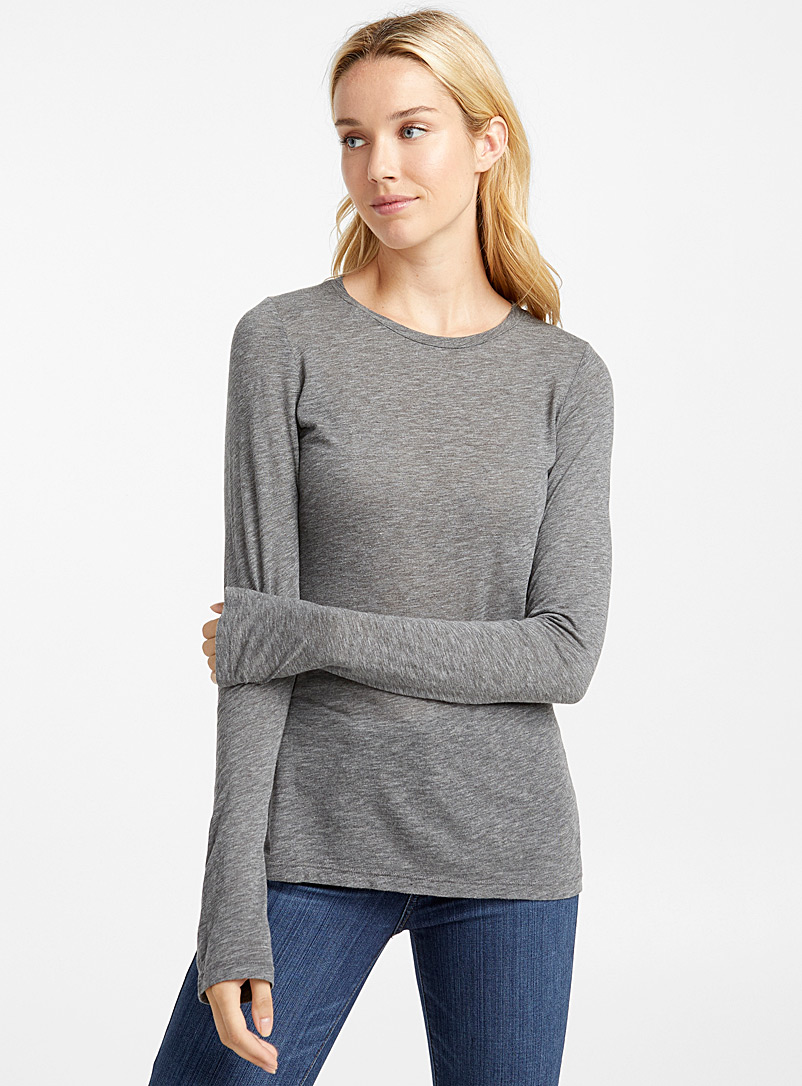 Lightweight long-sleeve tee - Basic - Dark Grey