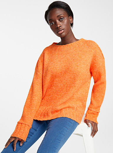 Ribbed edging orangeade sweater