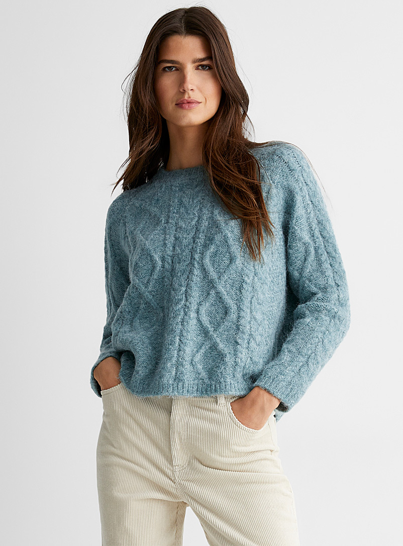 Lyla + Luxe Teal Textured cable stitches raglan sweater for women