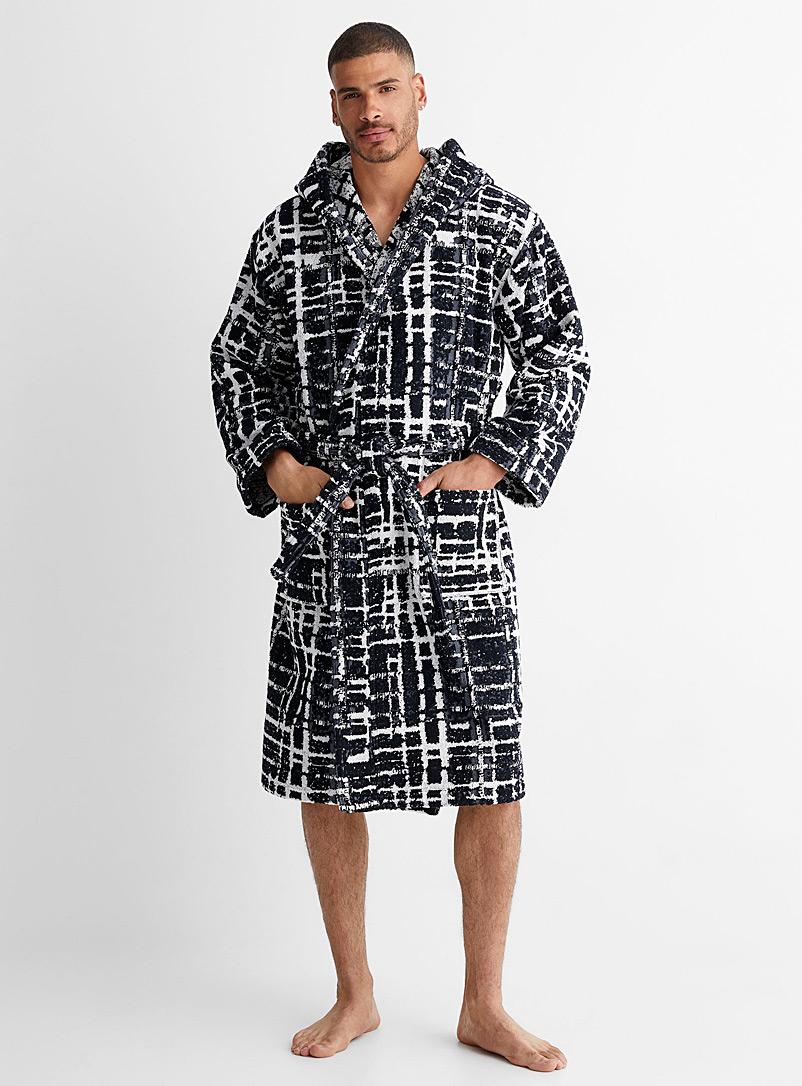 Le 31 Patterned White Checkered terry hooded robe for men