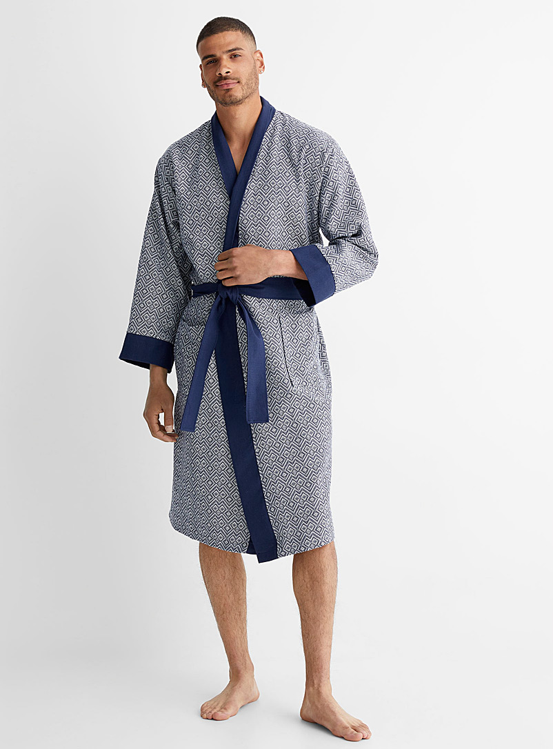 Le 31 Patterned Blue Geometric weave robe for men