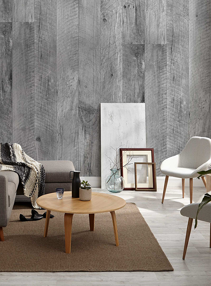 Barn wood wallpaper strip - Wynil - Patterned Grey