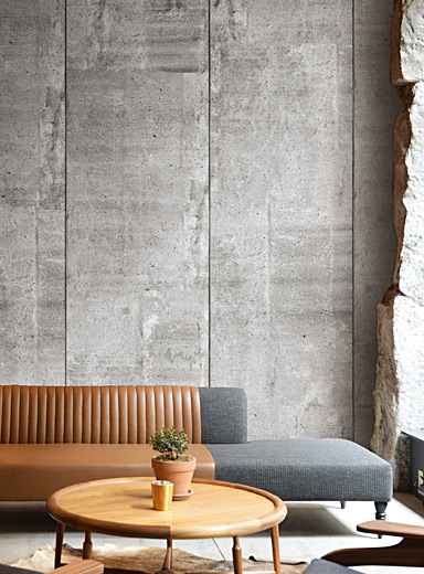 Wynil Grey Raw concrete wallpaper strip
