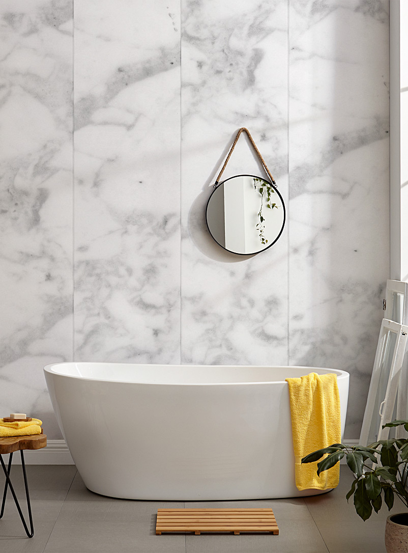 Chic marbled wallpaper strip - Wynil - White