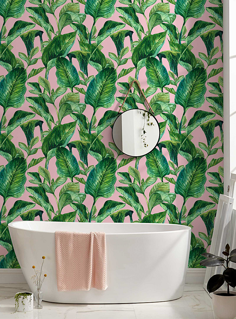 Tropical foliage pink wallpaper strip - Wynil - Assorted