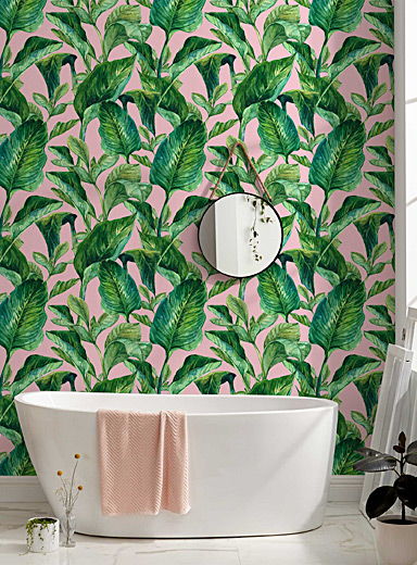 Tropical foliage pink wallpaper strip