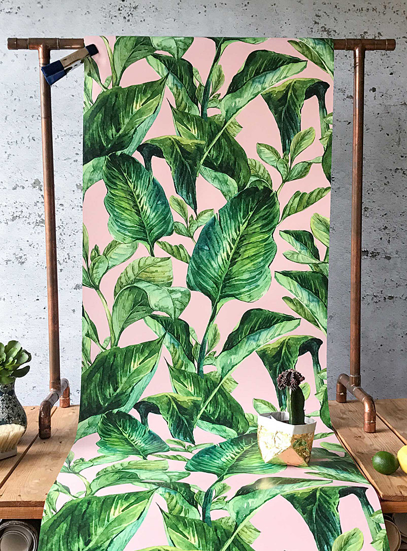 Tropical pink foliage wallpaper strip - Wallpapers - Assorted