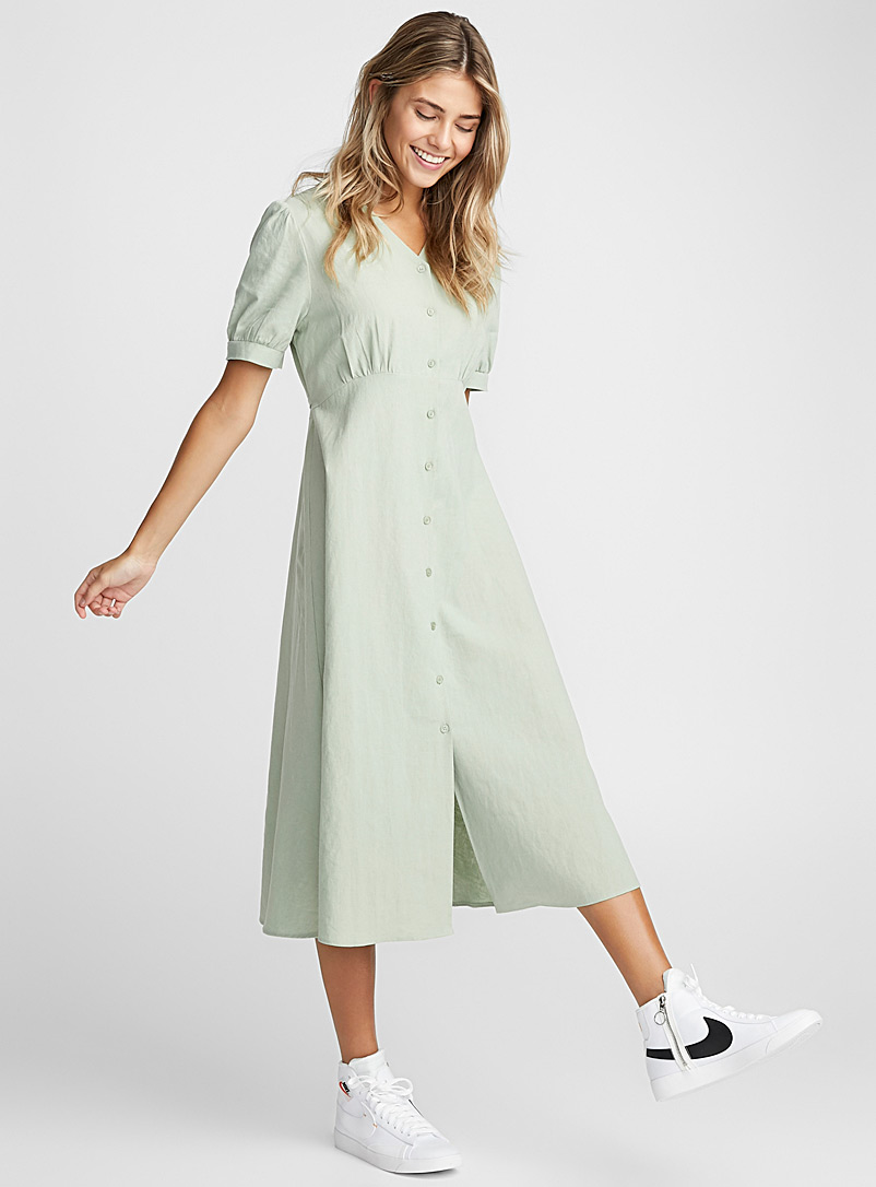 Linen-cotton peasant dress - Fit & Flare - Lime Green