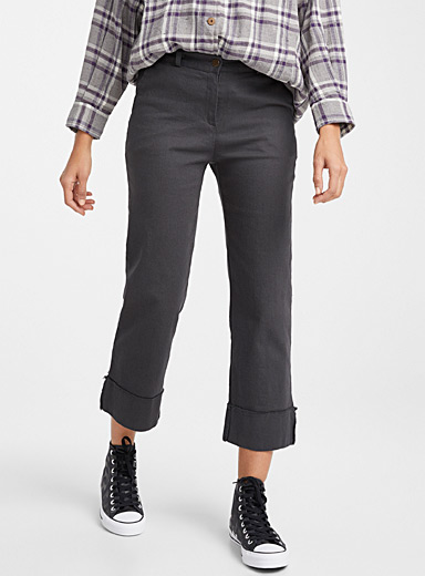 Wide cuff straight pant