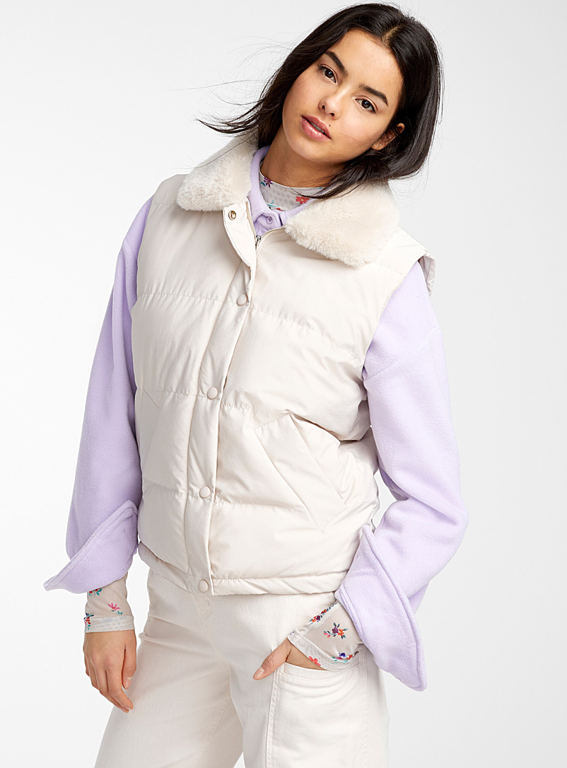 Twik Khaki Faux-fur collar quilted jacket for women