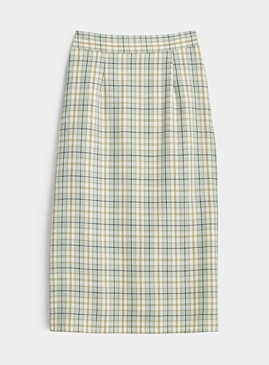 Twik Lime Green Vintage check pencil skirt for women