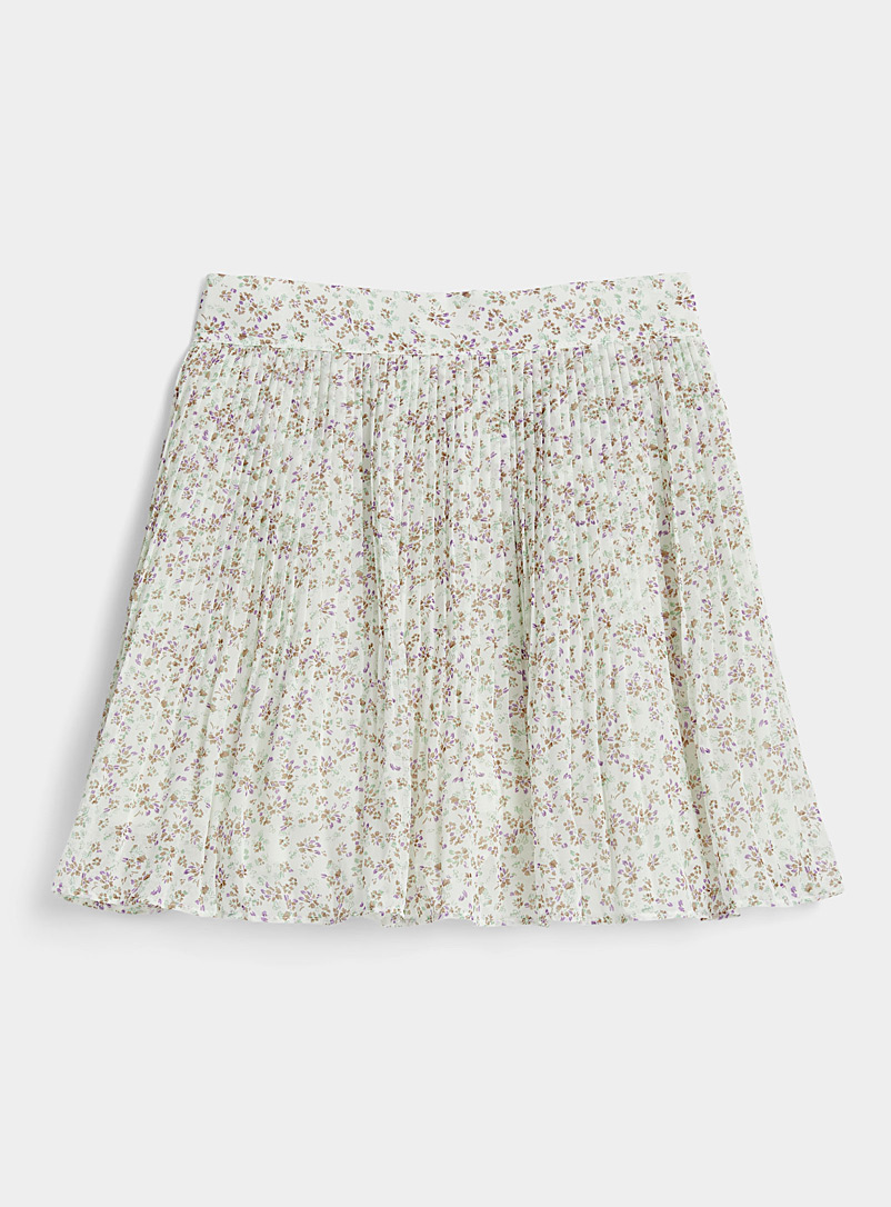 Twik Patterned White Floral pleated miniskirt for women