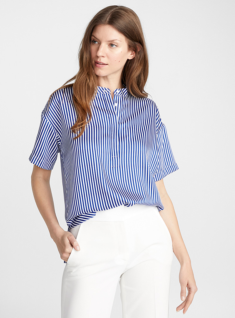 Maggi blue stripe silk blouse - Collections - Patterned Blue
