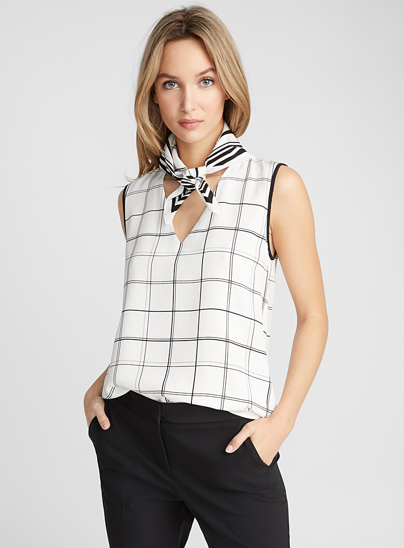 Cubic check silk blouse - Collections - Black and White