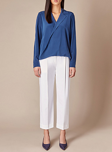 Judith & Charles White Abstract cropped belted pant for women