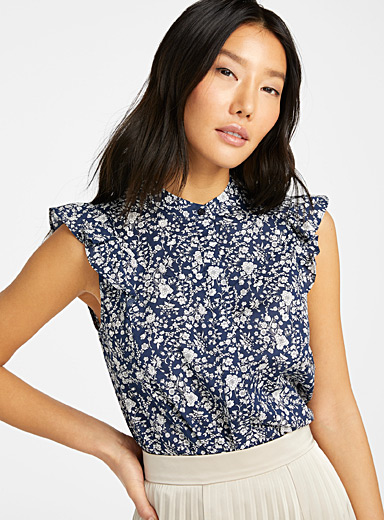 Judith & Charles Patterned Blue Opera romantic flower blouse for women