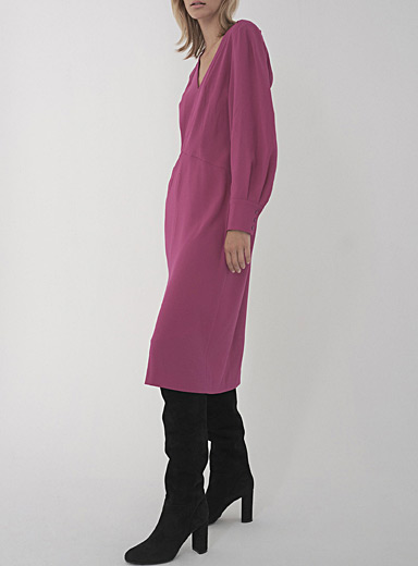 Judith & Charles: La robe magenta taille angulaire Vera Rouge moyen-framboi-ceris pour femme