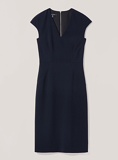 Judith & Charles Black Luciana cap-sleeve fitted dress for women