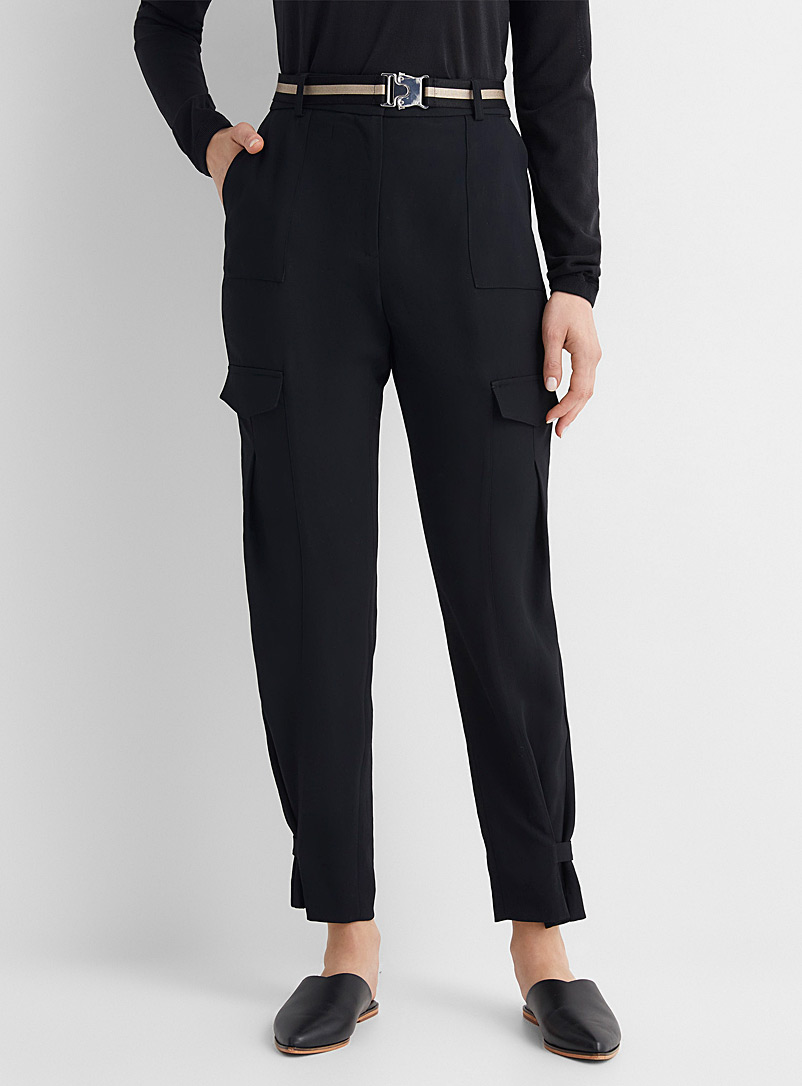 Judith & Charles Black Lily belted cargo pant for women