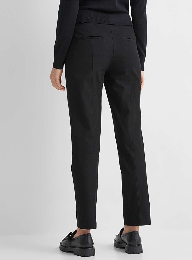 Judith & Charles Black Billy structured straight-leg twill pants for women