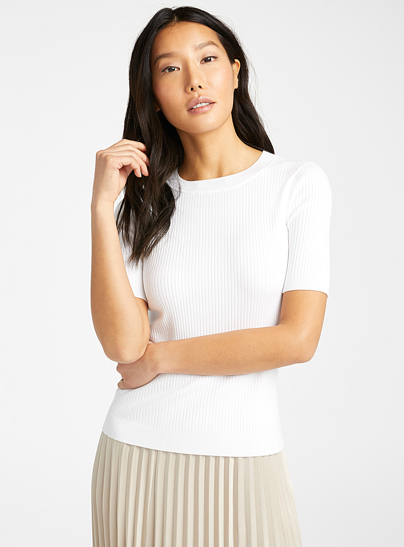 Judith & Charles White Anok white ribbed sweater for women