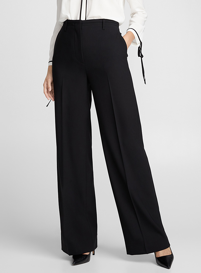 Wide-leg fine wool pant - Pants - Black