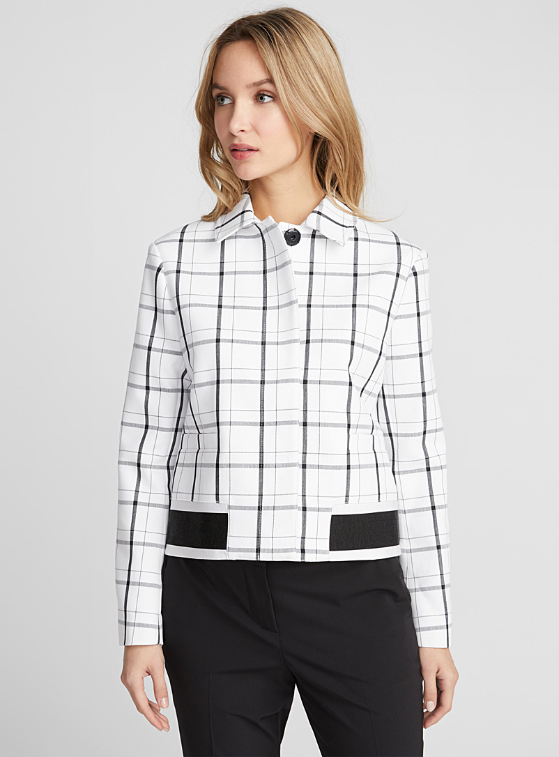 Frame contrast check jacket - Collections - Black and White