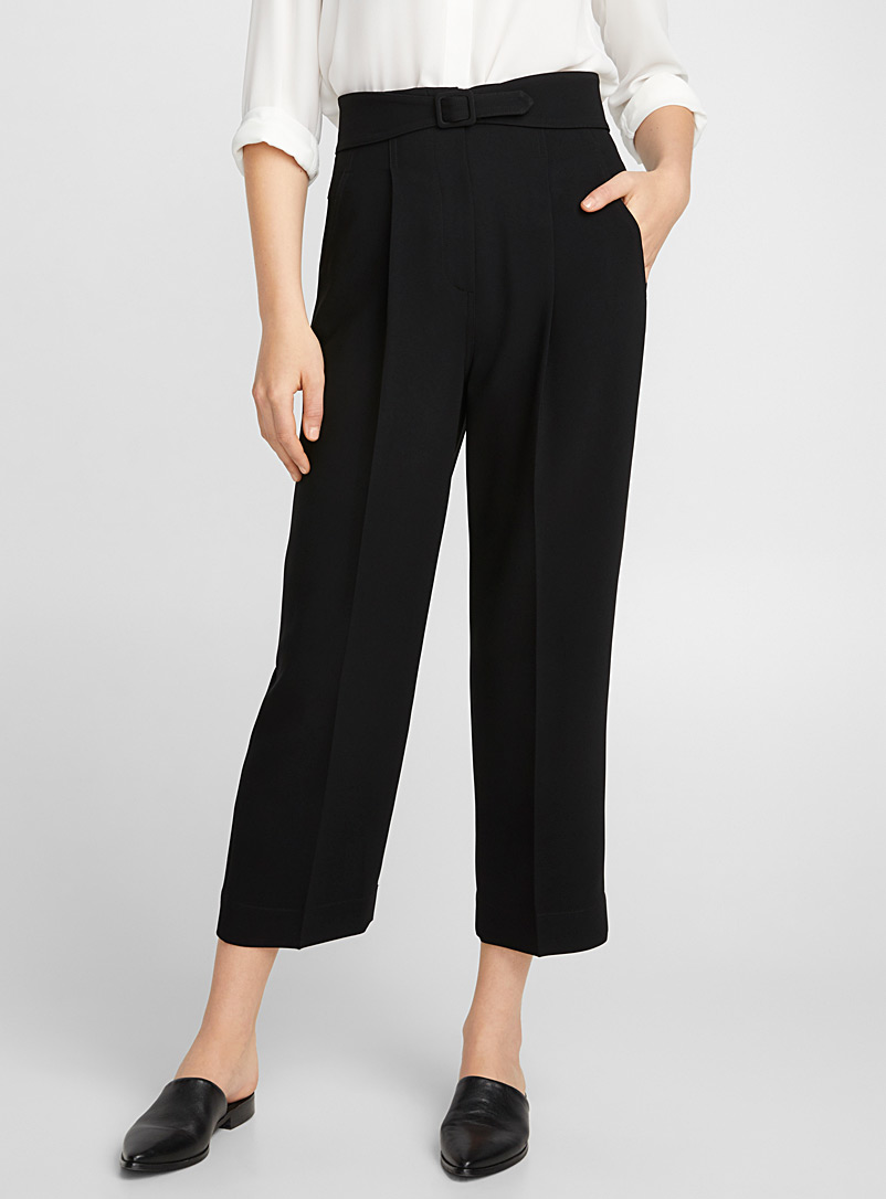 Abstract belted high-waist pant - Collections - Black